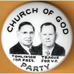 3rd Party 1T  - Church Of God Party Tomlinson For Pres. Teague For V.P. Campaign Button